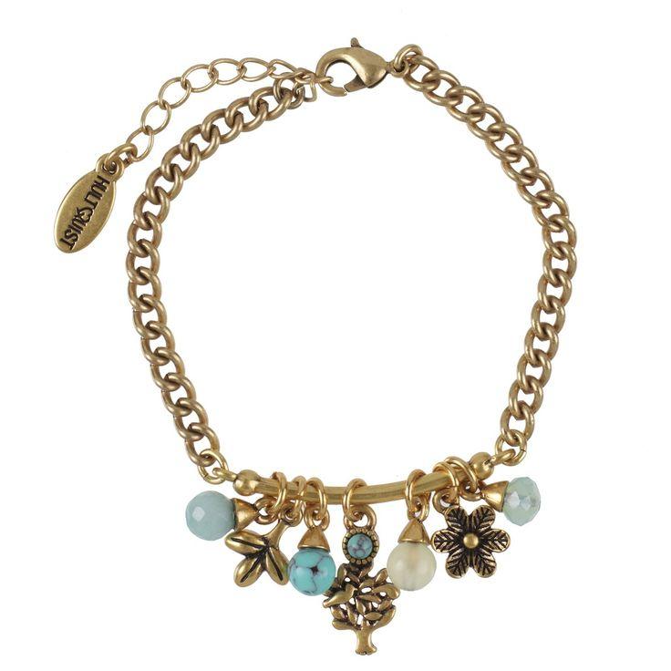 TREE OF LIFE BRACELET Gold chain bracelet featuring amazonite, chrysolite & turquoise glass beads www.visora.com.au