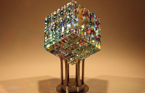 Chroma Cube Fine Art Glass Contemporary Sculpture by glass artist Jack Storms 4