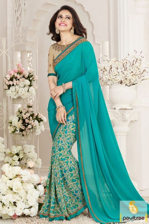 Rakul Preet Singh aqua blue color designer bollywood saree in discount sale and deal. New arrival actresses and celebrities sarees online only at pavitraa.in. #saree, #bollywoodsaree more: http://www.pavitraa.in/store/bollywood-saree/