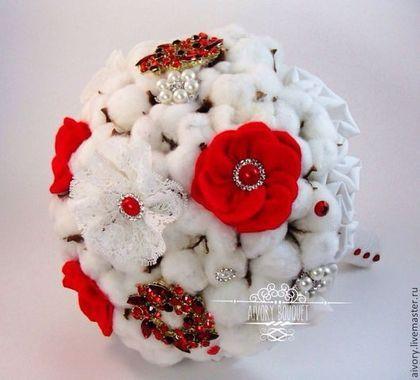 Свадебные цветы ручной работы. Ярмарка Мастеров - ручная работа. Купить Свадебный букет Хлопковый. Handmade. Белый, букет невесты