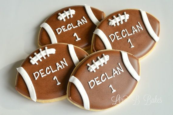18 Personalized Football Cookies by LizyBsbakeshop on Etsy