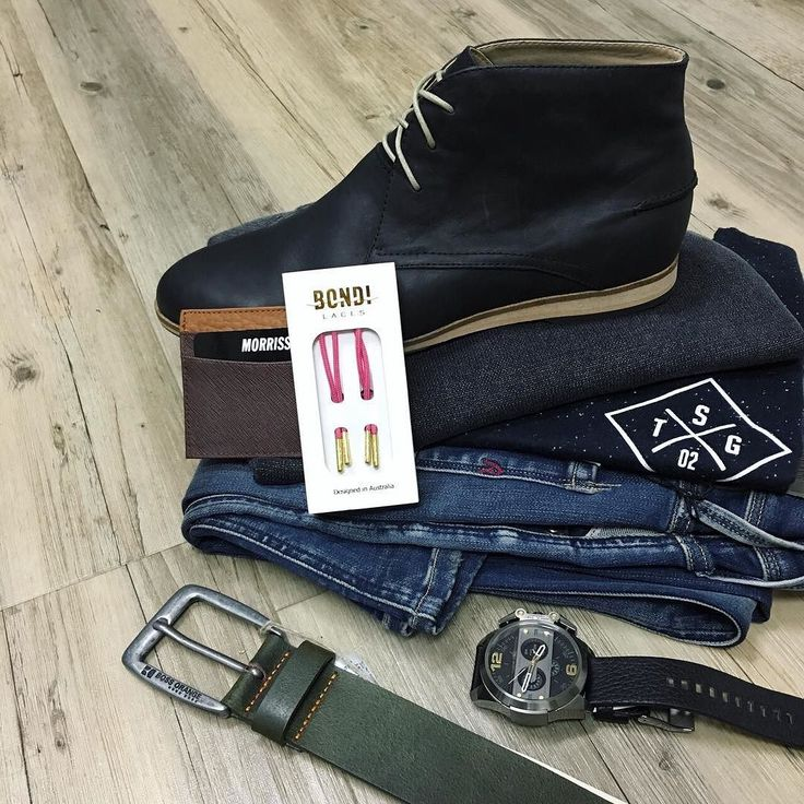 Here is a closer look at the previous post. All in store right now. // NEW Replay jeans NEW Silent Theory knit NEW Goliath tee  Croft boots Bondi Laces Hugo Boss Orange belt Morrissey card wallet and Diesel watch  #mensfashion #trampsthestore #wollongong #ReplayDenim #StGoliathClothing #SilentTheory #CroftShoes #flatlay #autumnWinter