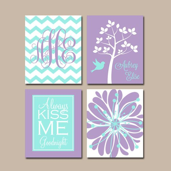 Aqua Purple Nursery Wall Art, CANVAS or Prints Girl Nursery Decor Lavender Custom Chevron Monogram Name Kiss Me Goodnight Tree Bird Set of 4