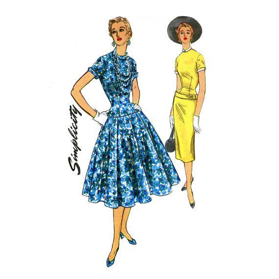negli anni cinquanta da cucire d'epoca modello goccia vita abito semplicità 4993 busto 34 Fit Uncut e Flare completo gonna guaina Wiggle giorno serata Rockabilly