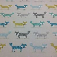 "Fryetts ""FOXY FOX  TEAL "" 100% Cotton Fabric for Curtain/ Upholstery/Crafts"