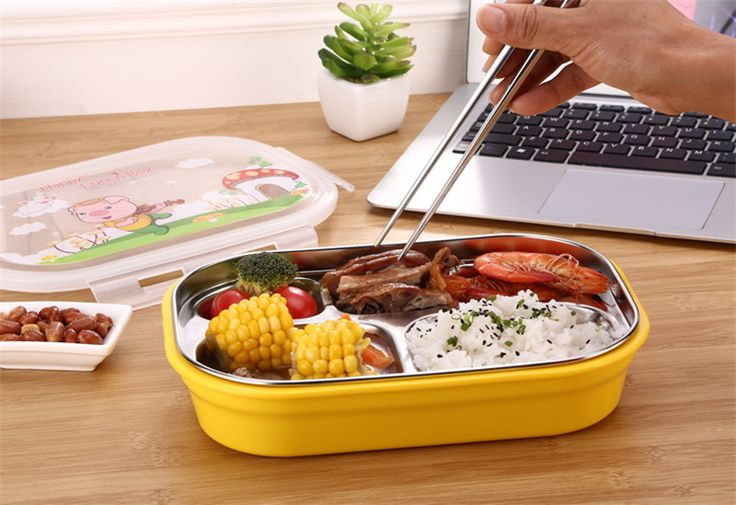 Hot Safe Lunchbox 303 Stainless Steel Bento Box Children LUNCH BOX With Small Partitions