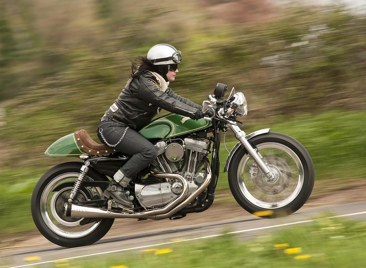 Riding Cafe Racer Girls | lovely iconic shot of a cafe racer, beauty in motion...