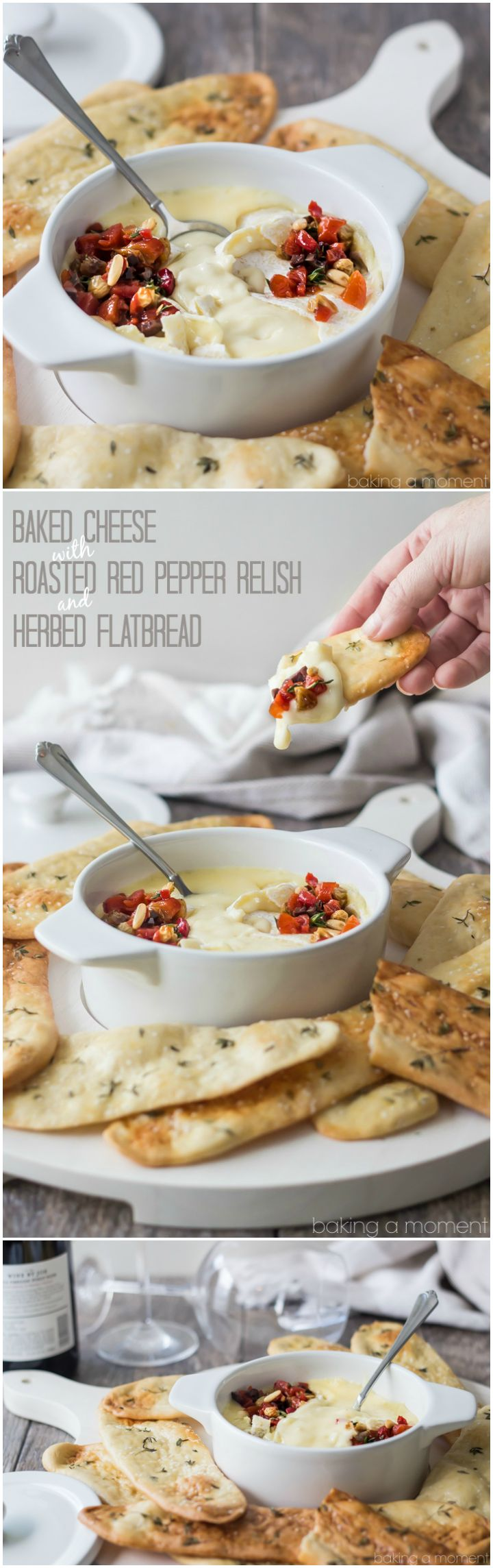 Serve this simple appetizer at your next get-together! The baked cheese is so creamy, and couldn't be simpler to make, and the roasted red pepper relish has tons of smoky-sweet flavor! Scoop it all up with crunchy homemade herbed flatbreads. @marthastewart @macys #marthastewartcollection #mscollection