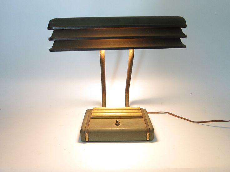 Art Deco Louvered Office Desk Lamp