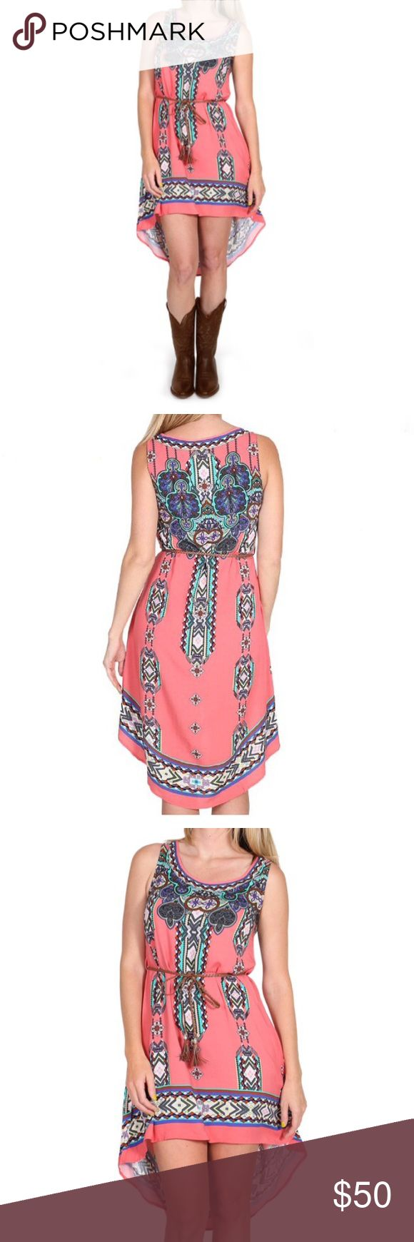 Shyanne Women's Aztec Print High-Low Dress XL Get that fun and flirty country girl look with this Shyanne women's Aztec Print high-low dress. This feminine dress is so versatile you can pair it with your best heels 👠 for a fancy date night or with your favorite cowboy boots for a concert or music festival. Featuring a high-low hemline, scoop-neck, waist belt and sleeveless cut this dress is perfect for warmer weather. Only worn one time. Perfect condition. 100% Rayon Shyanne Dresses High…