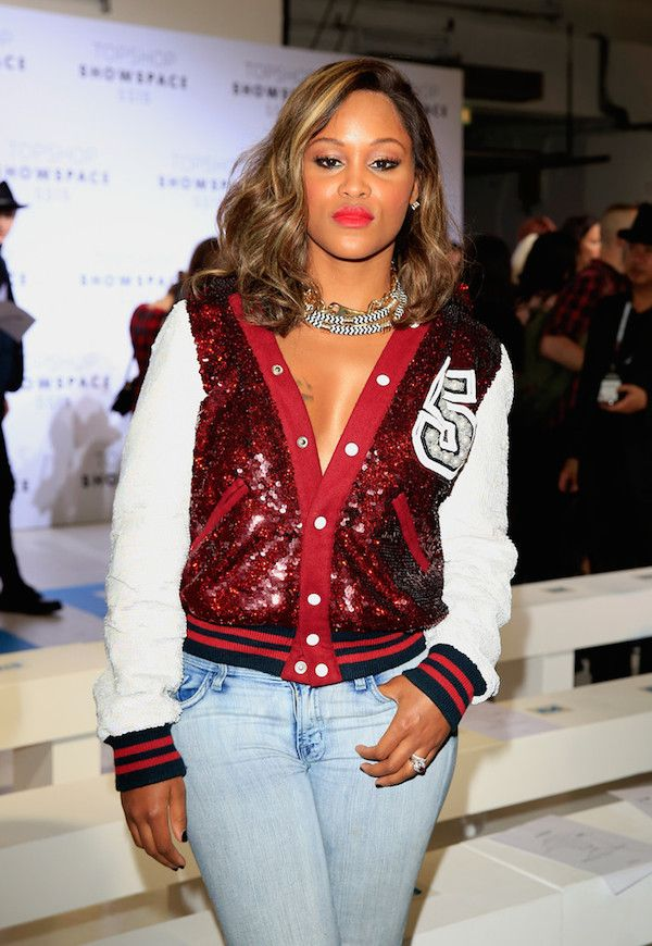 Rapper Eve Wearing A White And Red Embellished Bomber