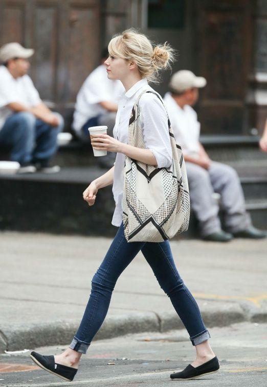 emma stone -- white shirt, black pants