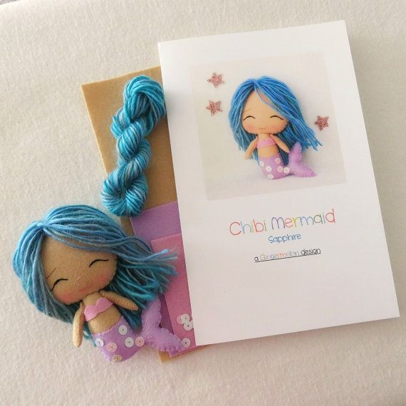 Sapphire Chibi Mermaid Pattern Kit by Gingermelon on Etsy