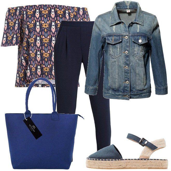 Un giubbino in denim deve essere sempre presente nel nostro armadio. Questo è economico, blu e in cotone. Lo abbiniamo ad un paio di pantaloni blu, in jersey, a vita alta e alla blusa a spalle scoperte in jersey. Per finire, espadrillas in tessuto color blu navy e maxi borsa.