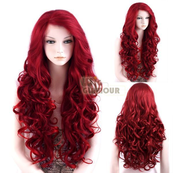 "Long Curly Wavy 26"" Red Lace Front Wig Heat Resistant #Wigglamour #FullWig"