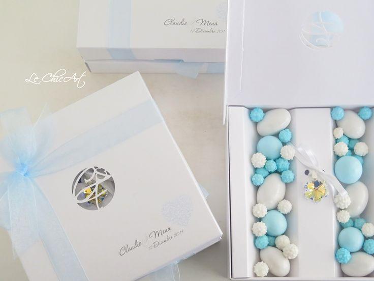 Bomboniera pendente fiocco di neve in cristallo Swarovski e packaging personalizzato firmato Le ChicArt