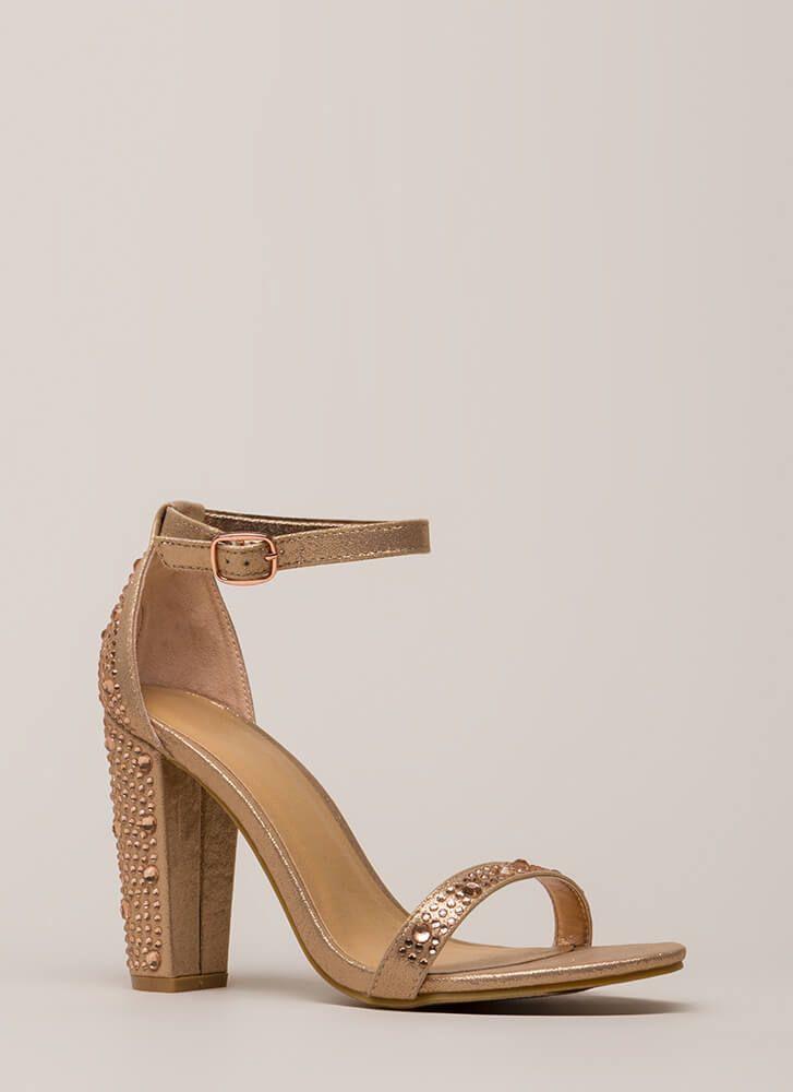 41fba510c339 Shimmer Chunky Metallic Jeweled Heels ROSEGOLD SILVER - GoJane.com