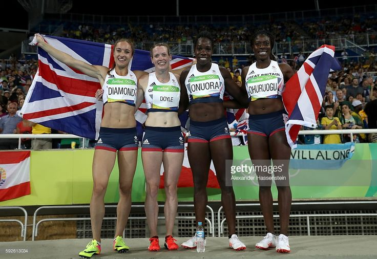 Emily Diamond, Eilidh Doyle, Anyika Onuora and Christine Ohuruogu of Great Britain react after winning bronze in the Women's 4 x 400 meter Relay on Day 15 of the Rio 2016 Olympic Games at the Olympic Stadium on August 20, 2016 in Rio de Janeiro, Brazil.