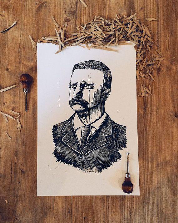 Theodore Roosevelt Wood Cut Poster by AbeWoodshop on Etsy