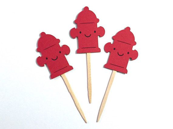Adorable set of 12 firefighter cupcake toppers. The toppers measure approximately 1.75-2 tall with about 2.5 of stick visible (~4.5 total height). You will receive three each of: firetruck, Dalmatian dog, fire hydrant and fire toppers. Each topper is lovingly assembled by hand with acid and lignen free cardstock in a smoke-free home and mounted on a wooden party pick. The cupcake toppers are backed with black cardstock so that the stick is not visible for a seamless and aesthetically…