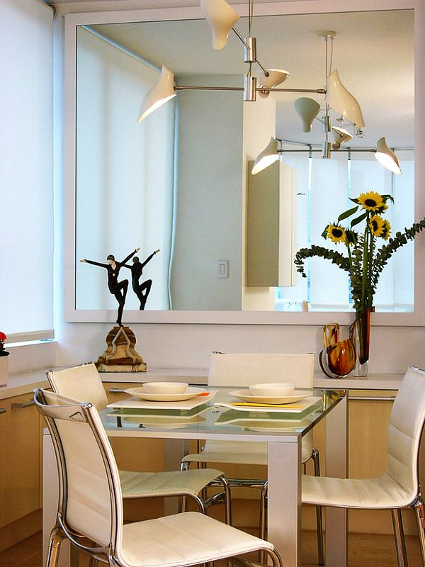 Furniture Small Fancy Breakfast Nook Chandelier Mirror On The Wall Elegant House Design To Make Interior Looks Larger