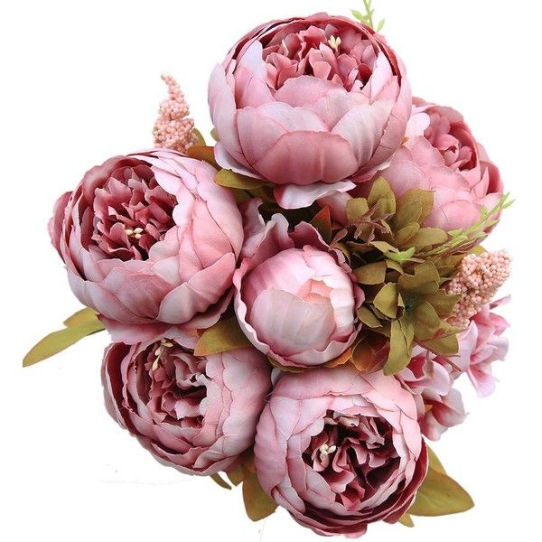 Luyue Vintage Artificial Peony Silk Flowers Bouquet, Light Pink ($14) ❤ liked on Polyvore featuring home, home decor, floral decor, fake silk flowers, peony bouquet, fake flowers, artificial flowers and fake bouquet