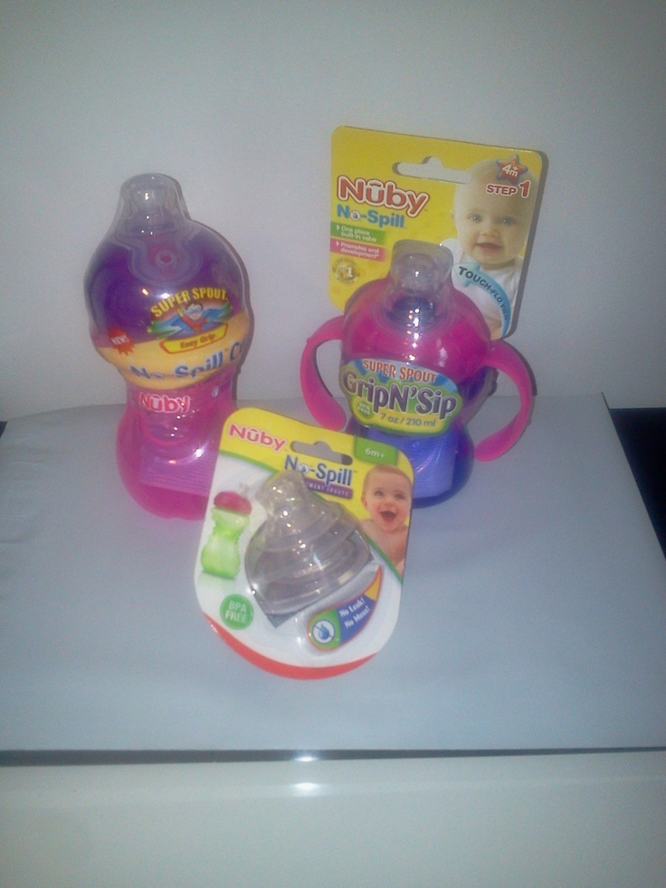 Nuby sippy cups and replacement spouts.