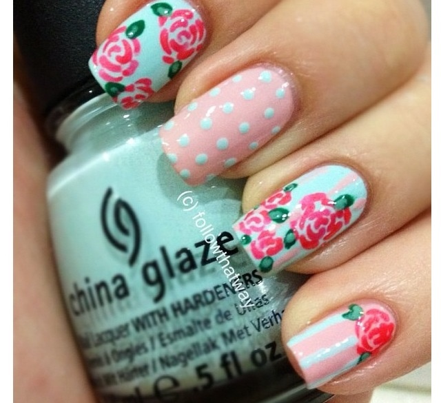 Rose nail design. Teal and baby pink - 50 Best Nails Images On Pinterest Rose Nails, Rose Nail Art And