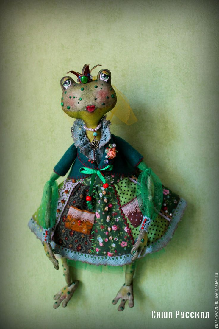 Купить Лягушка Клара - тёмно-зелёный, лягушка, клара, авторская ручная работа, авторская игрушка