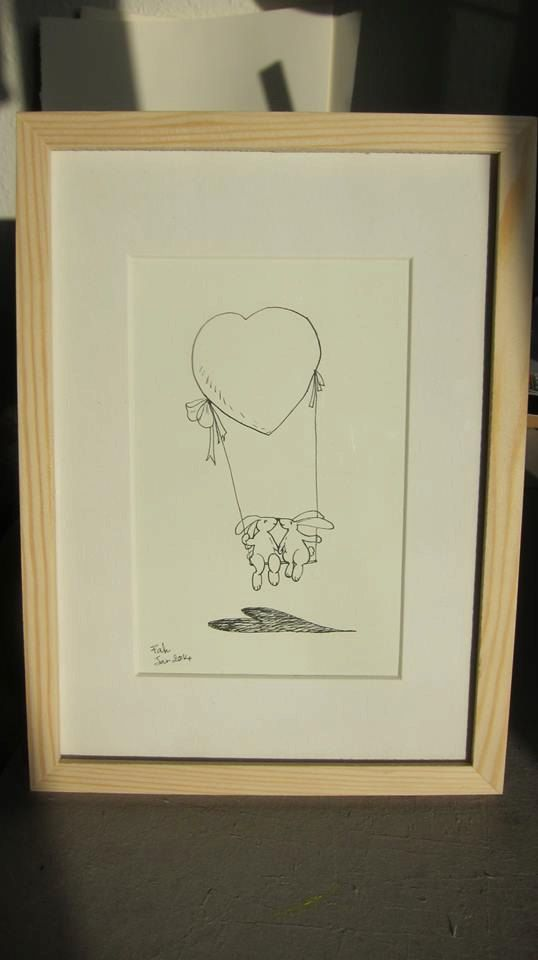 Valentine gift 'Love balloon'  drawing size 9 x 14 cm by Fahfield, kr200.00