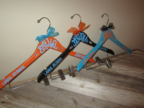 custom painted CHEER or DANCE or POM squad hangers for schools or competitions