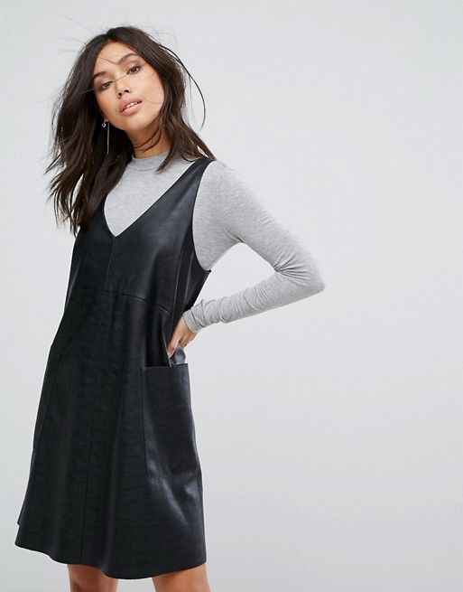 d5bce51eb12ab9 Boss Casual Leather V Neck With Jersey Turtleneck Dress