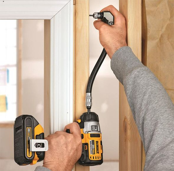 Dewalt DWARAFS Flex Shaft Right Angle Impact Driver Accessory in Action