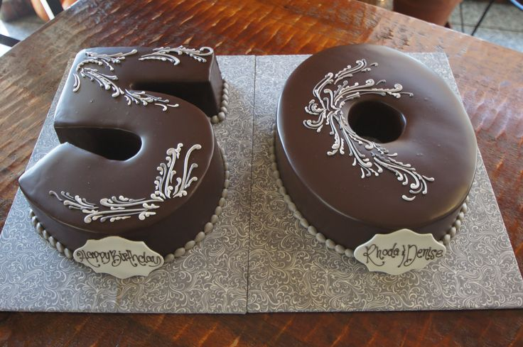 Chocolate Number 50 Shaped Birthday Cakes With Fancy White