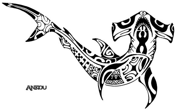 Render Marins - Renders Tatouage Requin marteau Maori                                                                                                                                                                                 Plus