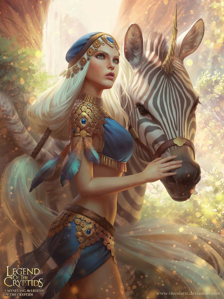 "Desert Queen with her trusty zebra-steed! for ""Legend Of The Cryptids"" (LoTC) by Viktoria Gavrilenko‏ @Viccolatte Senior Concept Artist"