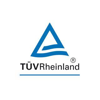 テュフ ラインランド ジャパンのロゴ:三角形とライン川の流れを表現したクールなロゴ   ロゴストック
