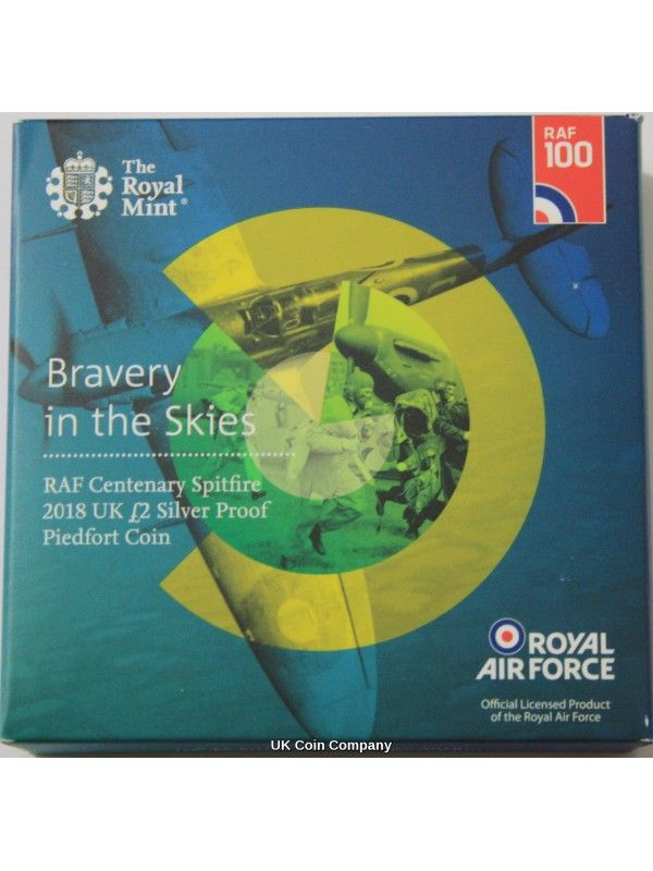 2018 UK 2 Silver Proof Piedfort Coin RAF Spitfire New Issue By The Royal Mint