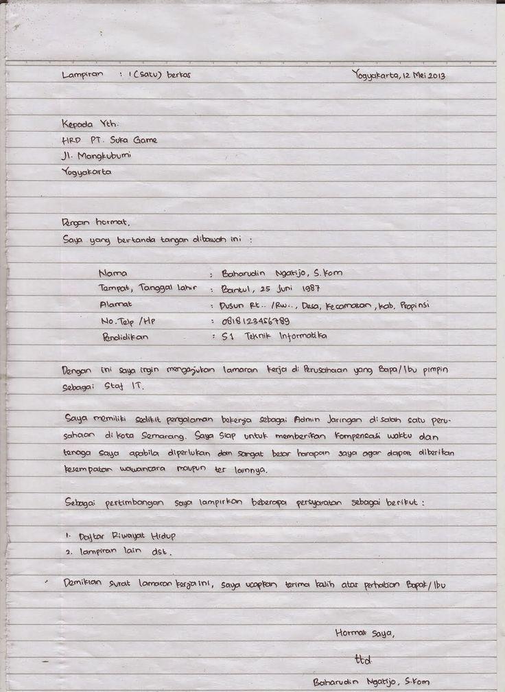 Contoh Surat Lamaran Kerja Tulis Tangan Dan Ketik Tulisan Tangan Tulisan Creative Cv Template