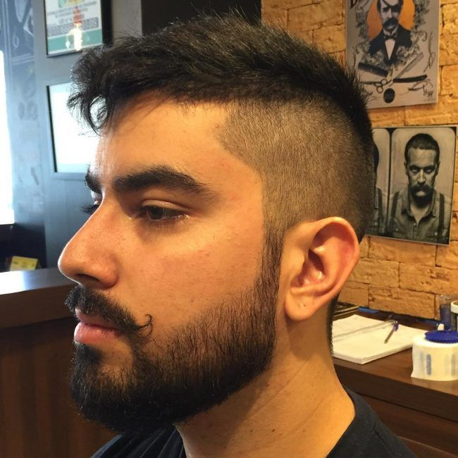 Mustache with Medium Fade Haircut and Beards