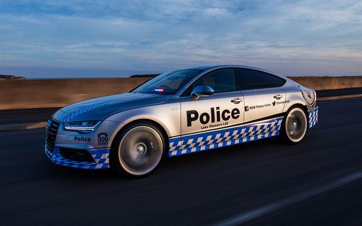 Herunterladen hintergrundbild audi s7 sportback, 2017, polizei, sport, auto, neuwagen, tuning, s7 polizei, au-spec, audi