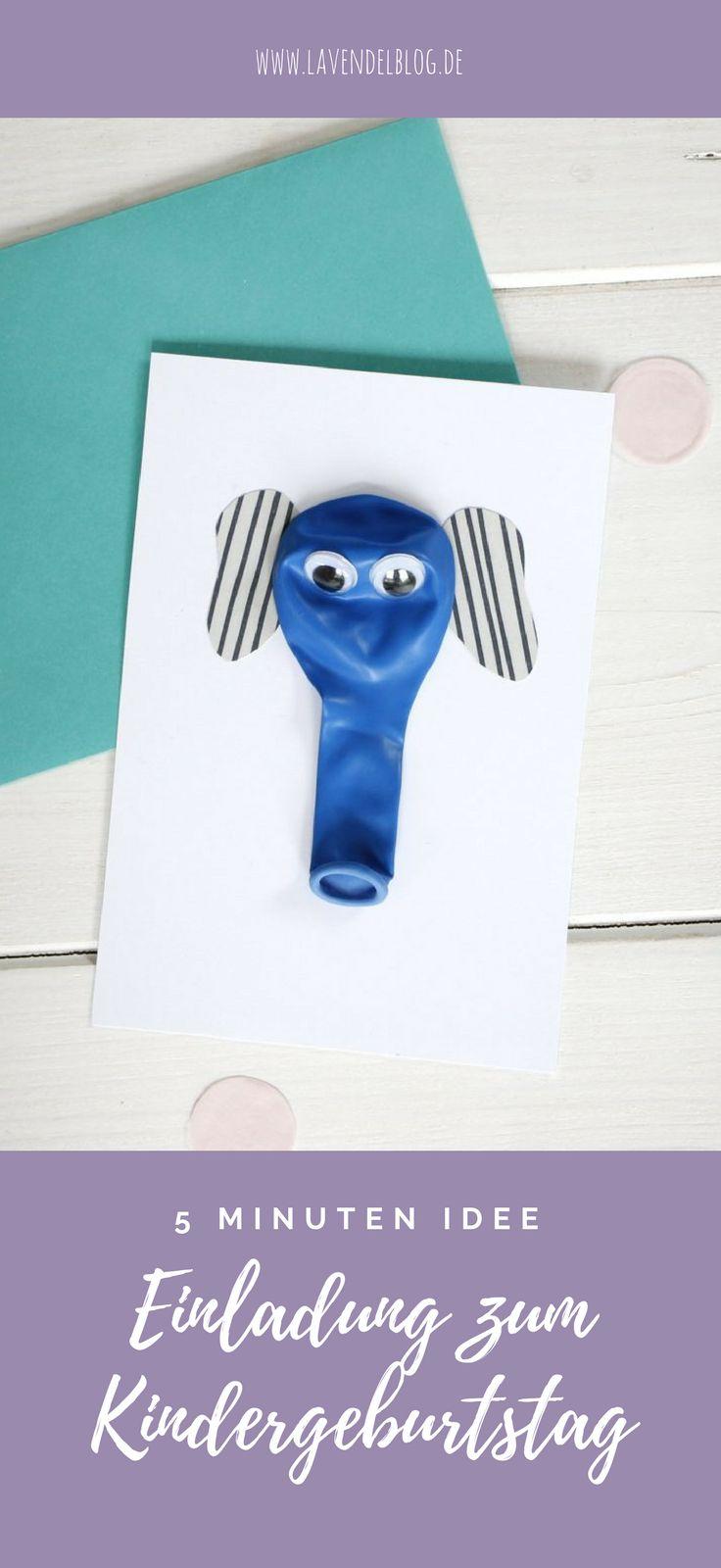 Einladungskarte basteln: Schnell, simpel und trotzdem ausdrucksstark ist die Luftballon Einladungskarte zum Kindergeburtstag. Für die Bastelidee brauchen Kinder kaum Hilfe. Ideal für eine Tierparty, eine Zooparty oder einfach nur so.