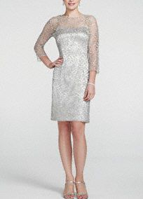 Sensational from head to toe, you will have no problem getting the attention you deserve in this glittering metallic dress!  3/4 sleeve illusion bodice features all over sparkling and eye-catching metallic lace detail.  V back adds a chic and dramatic touch.  Fully lined. Back zip. Imported poly/spandex blend. Dry clean.