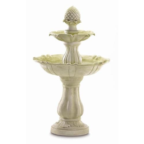 From a cleverly rendered acorn spout, water sparkles down three graceful tiers. A symbol of the huge potential that lies within very small things! Ivory polyresin looks just like real stone. Submersible water pump included.   This fountain is not weather proof and might cause the paint to peel off over time.  Due to the size and weight of this item, we are ONLY able to ship it within the Continental United States, to physical address locations, and only via UPS Ground. Shipping to Canada is…