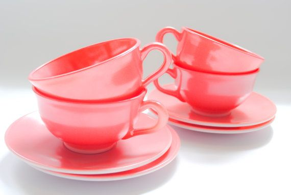 Coral Vintage Tea Cups by ScoutandScore on Etsy, $25.00
