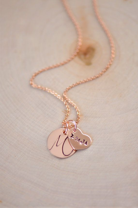 Personalized Initial Necklace Simple and Elegant  A delicate dainty everyday Necklace.    **14kt Rose gold filled flat cable chain ** 14kt Rose