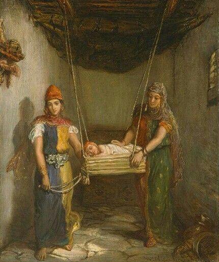 Algérie  - Peintre FrançaisThéodore Chassériau(1819-1856) , huile sur toile 1951 ,Titre : Deux femmes juives de Constantine berçant un enfant