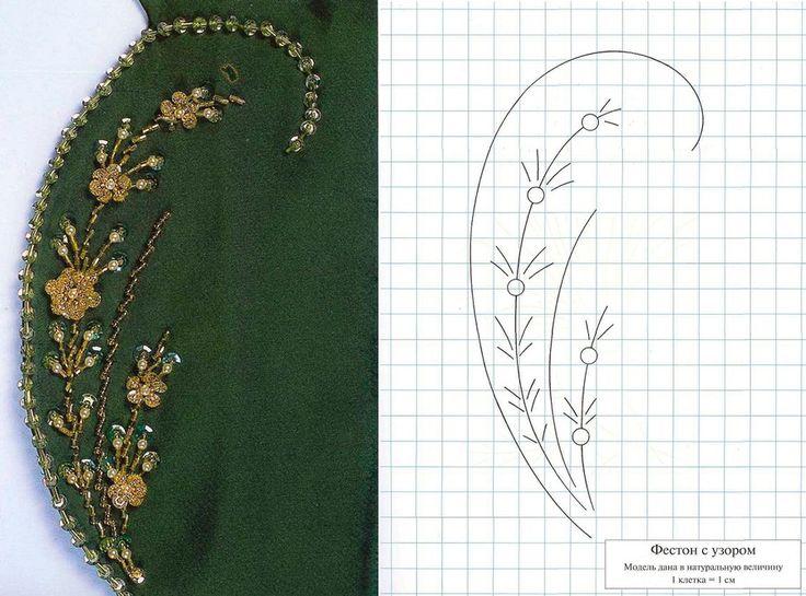 Вышивка узоров бисером на платье