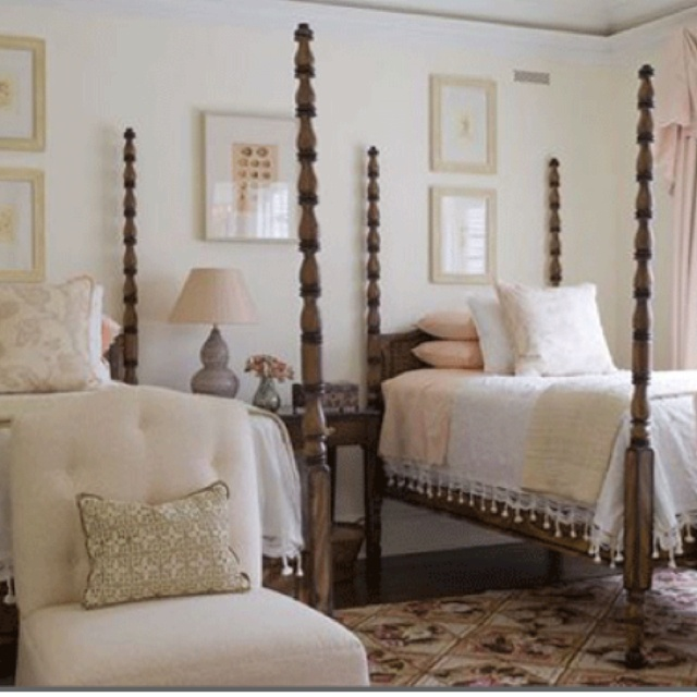 Phoebe Howard Four Poster Twin Beds Crocheted Pillows
