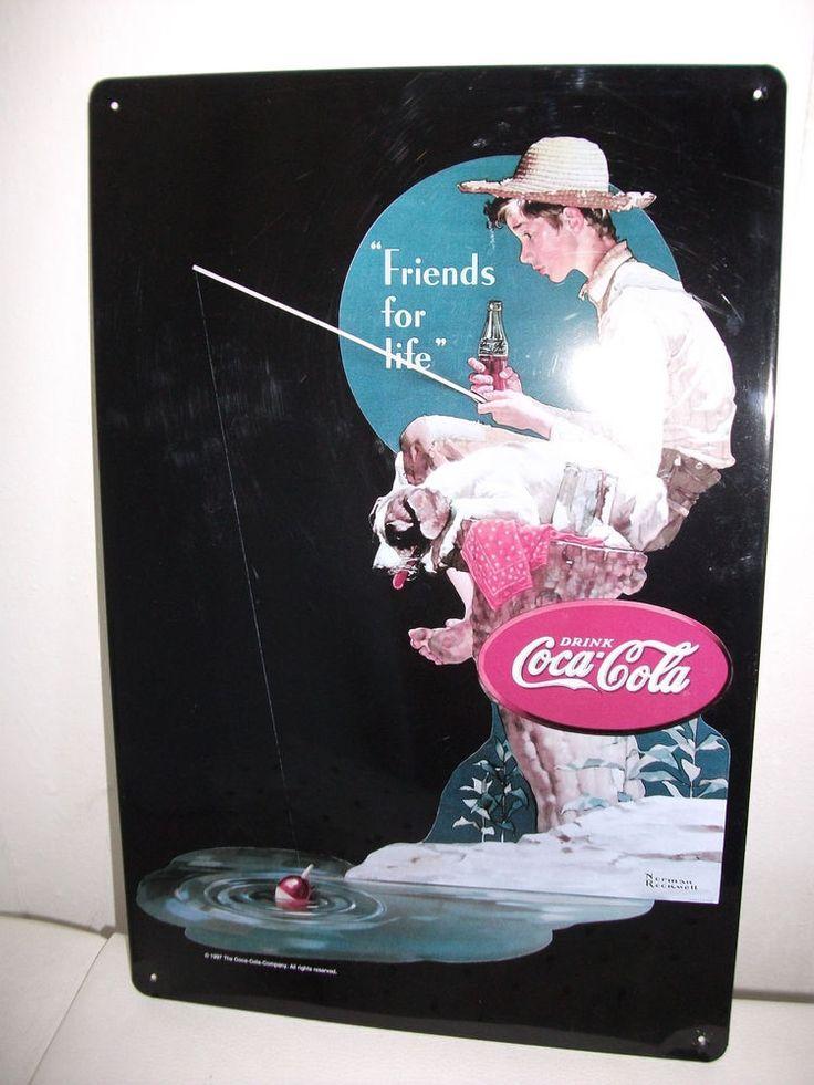 Coca Cola Werbeplakat aus Metall (original von 1997)